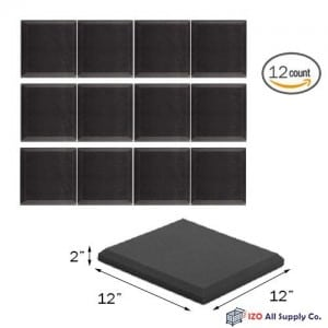 (12 Pk) 2x12x12 Soundproofing Foam Acoustic Bevel Tiles Studio Foam Sound Wedges