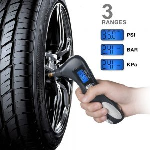 Digital Tire Pressure Gauge, Lantoo 150PSI with 5 In 1 Rescue Tools of LED Flashlight,Car Window Breaker, Seatbelt Cutter,Red Safety Light and Tire Gauge for Car,All Vehicles.