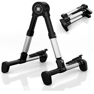 Guitar Stand Universal Folding A-Frame use for Acoustic, Electric, Bass Guitars. Ultimate Lightweight Portable Holder for On Stage, Ultra Stable Musical Instruments Stands for Professional Guitar