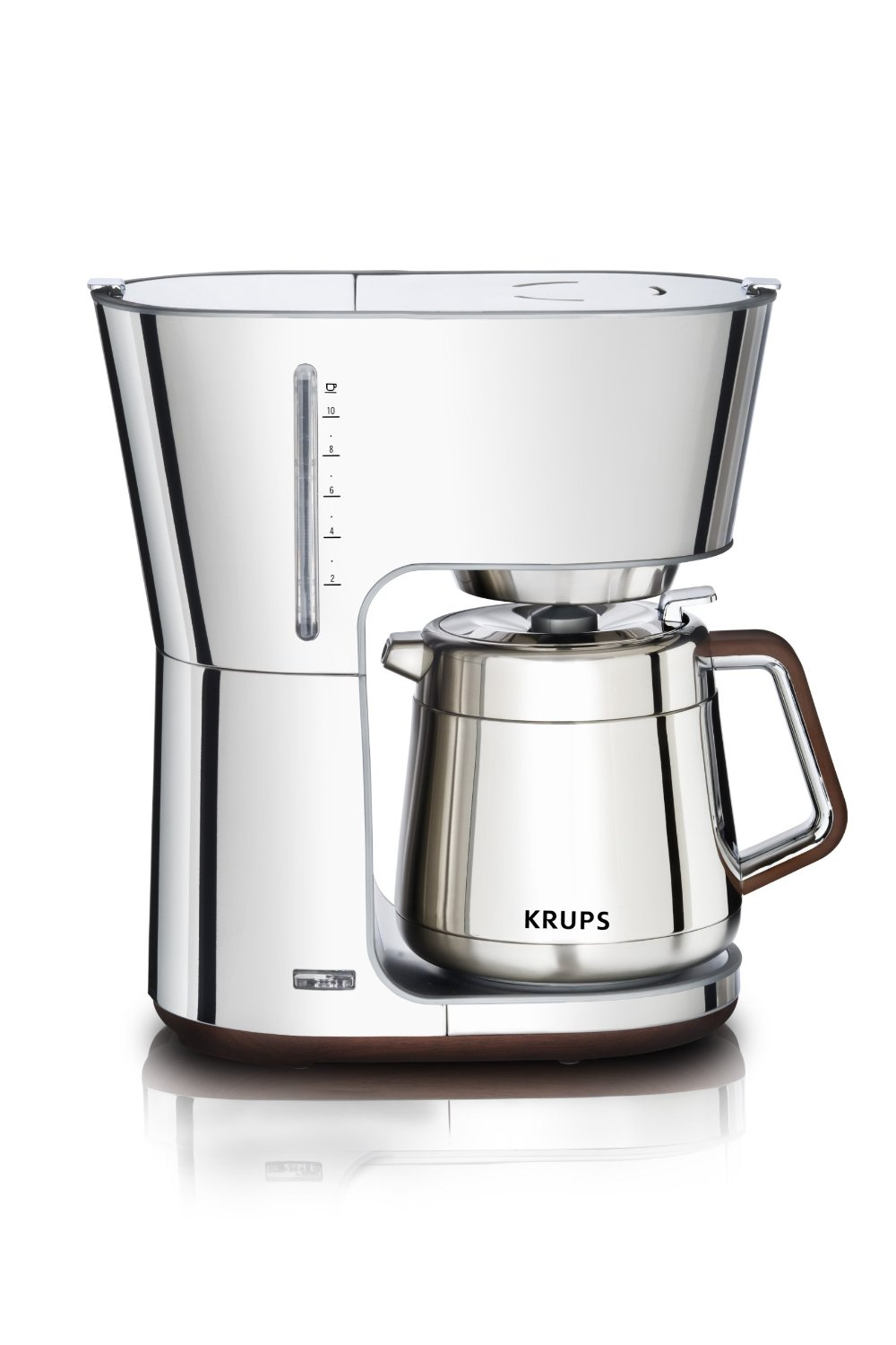 KRUPS KT600 Silver Art Collection Thermal Carafe Coffee Maker with Chrome Stainless Steel Housing 10 Cup Silver Best  Cup Coffee Maker With Thermal Carafe