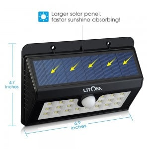 Litom 20 Big LED Solar Sensor Powered Wall Lights Weatherproof for Outdoor