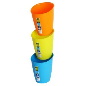 MR. SIGA 8L (2.1 Gallon)Set of 3, Indoor, Home, Office, Recycle & Storage Bins in Lime, Orange, Blue Color, Size 27 x 25.5cm