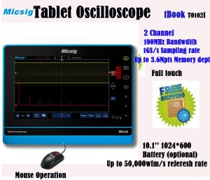 Micsig 100MHz 2CH 1GSs tablet oscilloscope TO102I full touch without battery