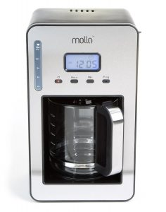 Molla PerfectDrip 12-Cup Programmable Coffee Maker, Black, Stainless Steel