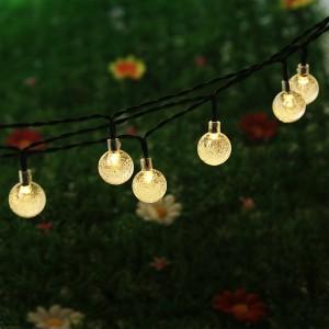 NEWSTYLE LED131 30 LED Crystal Ball Solar String Lights, 16.4 feet, Warm White