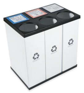 RecycleBoxBin - Triple Recycling Recycle Bin, Holds 33 Gallon Bags