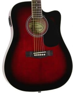 Red Full Size Thinline Acoustic Electric Guitar with Free Gig Bag Case