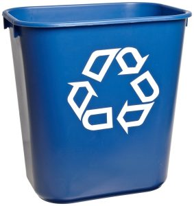Rubbermaid Commercial 295573BE Blue 13.625-Quart Small Deskside Recycling Container