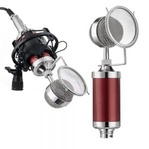 Tonor Professional Cardioid Solid State Condenser Broadcast Recording Microphones, Red