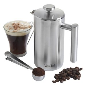 VonShef Double-Wall Keep Warm Satin Brushed Stainless Steel French Press Cafetiere Coffee Filter(6 Cup w Measuring Spoon and Sealing Clip). Available in sizes 3, 6 and 8 Cup