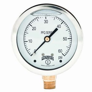 Winters PFQ Series Stainless Steel 304 Single Scale Liquid Filled Pressure Gauge with Brass Internals, 0-60 psi, 2-12 Dial Display, +-1.5% Accuracy, 14 NPT Bottom Mount