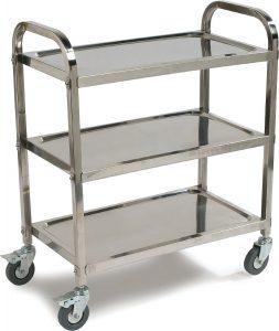 Carlisle UC4031529 Knockdown Stainless Steel 3 Shelf Utility Service Cart, 400 lb. Capacity