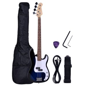 Goplus® Blue Full Size 4 String Electric Bass Guitar with Strap Guitar Bag Amp Cord New
