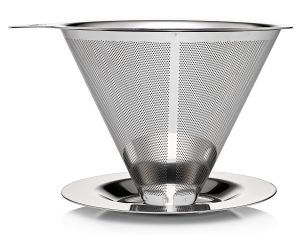 JavaPresse Pour Over Coffee Dripper and Maker Stainless Steel Brewer with Paperless Drip Filter