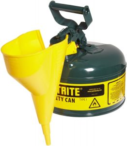 Justrite Type I Galvanized Steel Safety Can with Funnel