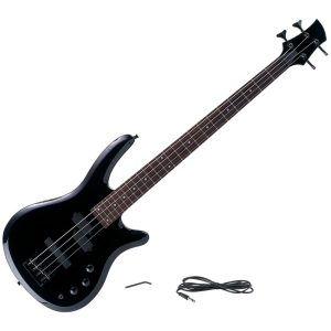New Maxam 43 Inch Electric Bass 4 String Guitar 2 Tone Controls Phone Jack Strap Buttons Amp Cord