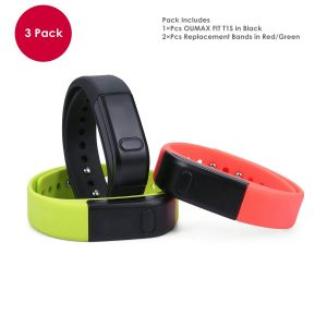 OUMAX® FIT T1S Activity and Fitness Tracker (Pack Includes 3 Colored Bands in BlackGreenRed)