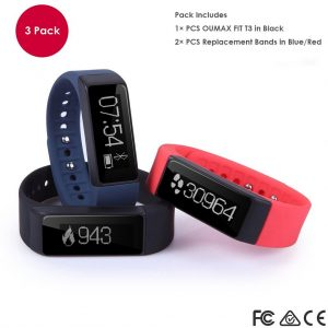 OUMAX T3 (3 Colored Bands) Activity and Fitness Tracker With 0.91inch OLED Touch Screen, G Sensor, Sleep Monitor and Smart Notifications for IOS and Android Devices (Support IOS9.0 and Android 5.0)