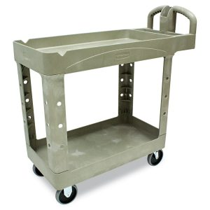 Rubbermaid Commercial FG450088BEIG Heavy-Duty Service Cart with Lipped Shelves, Small