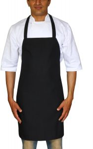 Bistro-Garden-Craftsmen Professional Bib Apron Black Spun Polyester - Set of 2, Durable, Comfortable, Easy Care, Restaurant Commercial Waitress Waiter Aprons - Black (32 x 28) by Utopia Wear