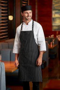 Chef Works CSBA-BCS Chalk Stripe Bib Apron with Pockets, 34-14-Inch Length by 27-Inch Width, BlackWhite