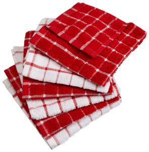DII 100% Cotton, Machine Washable, Basic Everyday Kitchen Dish Cloth, Windowpane Design, 12 x 12 Set of 6- Red