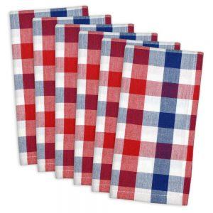 DII 100% Cotton, Oversized Basic Everyday 20x20 Napkin Set of 6, Red , White & Blue Check