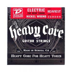 Dunlop DHCN1254 Heavy Core Nickel Wound Guitar Strings, Heaviest, .012-.054, 6 StringsSet