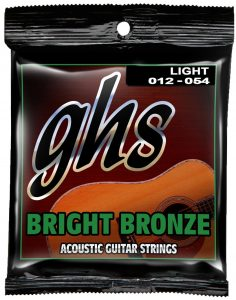 GHS Strings BB30L Bright Bronze, 8020 Copper-Zinc Alloy, Acoustic Guitar Strings, Light (.012-.054)