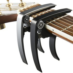 Guitar Capo (2 Pack) for Guitars, Ukulele, Banjo, Mandolin, Bass - Made of Ultra Lightweight Aluminum Metal (1.2 oz!) for 6 & 12 String Instruments - Premium Accessories by Nordic Essentials™ - (Black + Silver) - Lifeti