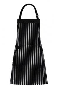Homwe Adjustable Bib Apron with Pockets - 33-inch Length by 27-inch Width - BlackWhite Pinstripe - 1 Pcs