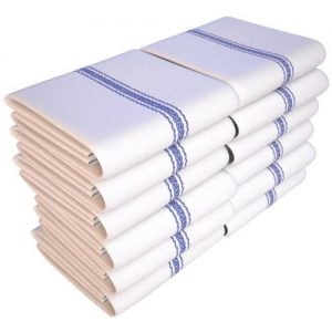 Keeble Outlets One Dozen (12) Kitchen Dish Towels - White - High Quality, Low Lint, Professional Grade 24 oz., 100% Cotton Tea Towel With Herringbone Weave for Exceptional Absorption. Use The Kitchen Towel Pref