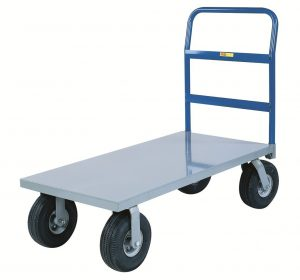 Little Giant NBB-2460-10P Steel Deck Cushion-Load Platform Truck with 10 Pneumatic Wheels