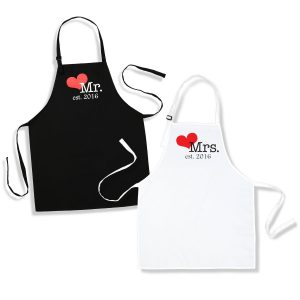 Mr. And Mrs. Aprons Est. 2020 with Heart Wedding Gift for Couples
