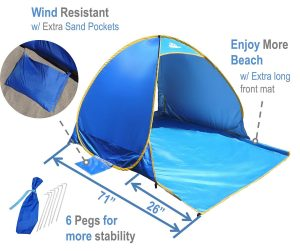 OutdoorsmanLab Automatic Pop Up Beach Tent- UV 50+ Protection Portable Outdoor Tent Kids Play Tent Sun Shelter For Outdoor and Indoor Use- Fits up to 2 Adults + Kids