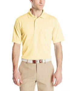PGA TOUR Men's Golf Mini-Grid Solid Short Sleeve Polo Shirt with Pocket