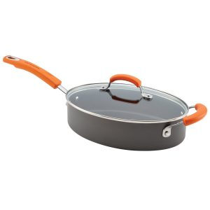 Rachael Ray Hard Anodized II Nonstick 3-Quart Covered Oval Sauté, Gray with Orange Handle