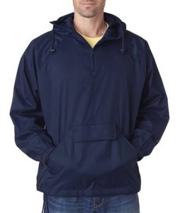 UltraClub 8925 Men's Solid 14-Zip Hooded Pullover Pack-Away Coat