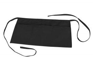 Waist Aprons Commercial Restaurant Home Bib Spun Poly Cotton Kitchen (3 Pockets)in Black