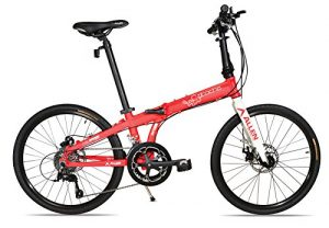 Allen Sports Atocha Aluminum 24 Wheeled Folding Bike with Disc Brakes & 18 Speeds, Red