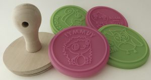 Cookie Stamp - Wooden Handle and 4 Silicone Interchangeable Cookie Stamper.