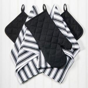 Dish Towels, Pot Holders and Oven Mitt 5-piece Premium Kitchen Linen Set, 100% Cotton, BlackWhite