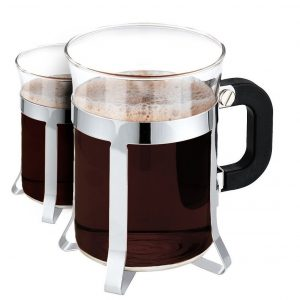 Glass Espresso-Cappuccino-Cups Set with Bakelite-Handles - 4 Piece Pack, Chromed Espresso Mug with Chromed Holder, 200 ml, Ideal for Bistro, Coffee Shop and Home Use - By Utopia Kitchen