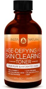 InstaNatural Vitamin C Toner - With Retinol, Salicylic Acid, Hyaluronic Acid & Niacinamide - Skin Clearing Face Toner & Moisturizer for Men & Women - Safe for Sensitive Skin on Face & Neck - 4 OZ