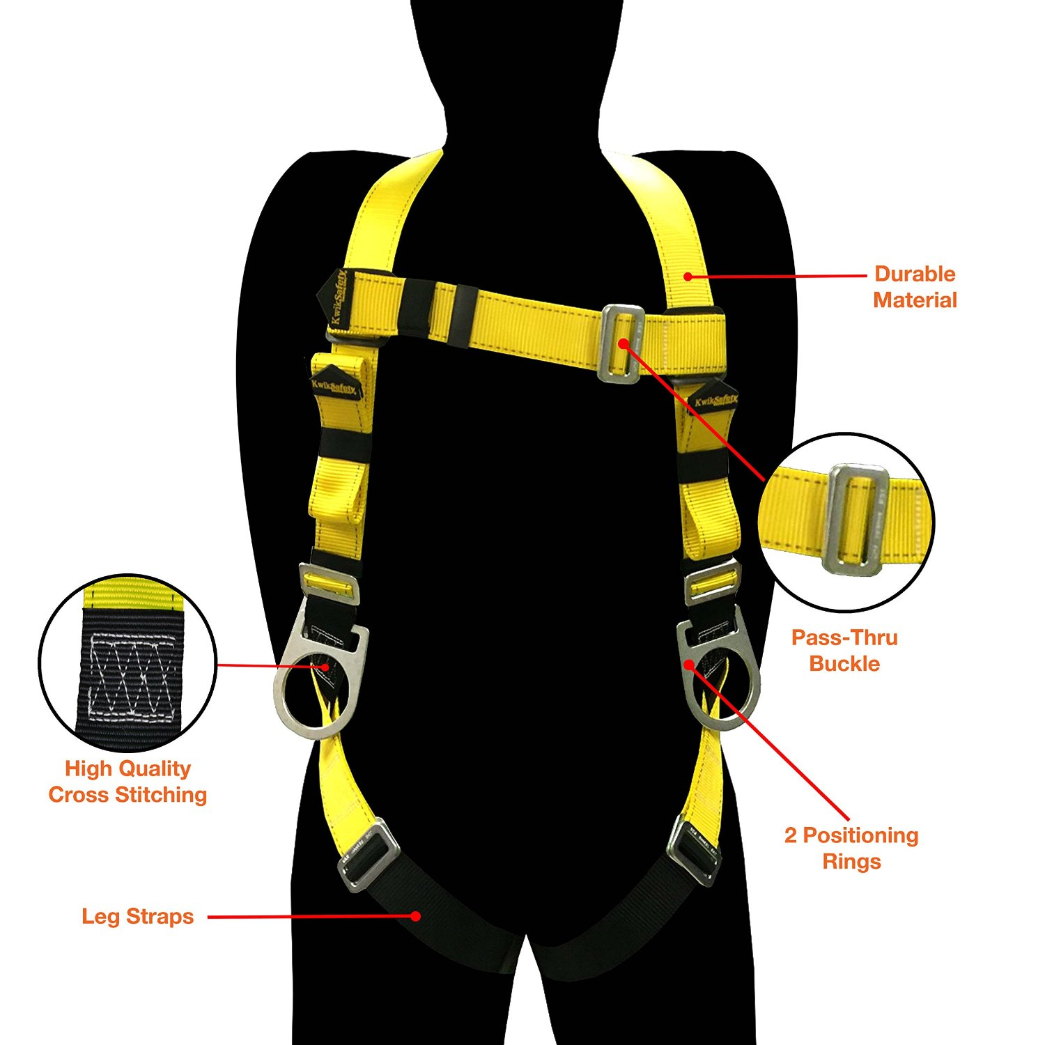 KwikSafety Fall Protection ANSI Multi Purpose Construction Safety Harness with 3 D Rings top 10 best fall protection