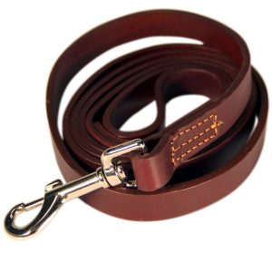 Logical Leather 6 Foot Dog Training Leash - Best Water Resistant Heavy Full Grain Leather Lead - Lifetime Guarantee