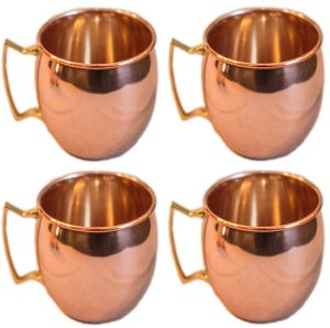 Moscow Mule 100 % Solid Pure Copper MugsCups - Set of 4 (16-ounceSet of 4, Smooth)