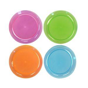 Party Essentials Hard Plastic 6-Inch Round PartyDessert Plates, Assorted Neon, 80-Count