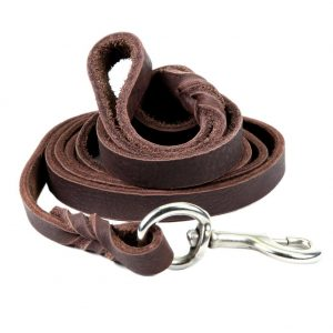 Petroad Leather Dog Leash for Large Dogs, Training Lead, Heavy Duty Brown Leash for Dogs and 6ft Long and 34 inch Large (Brown)