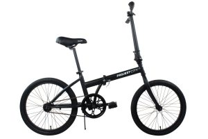 Projekt City - 20 inch City Bike Compact Folding Single Speed Uno College Bicycle, Black (Matte Black)